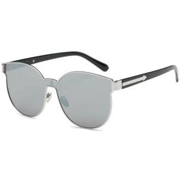OWL Eyewear Sunglasses 86036 C2 Women's Metal Fashion Black/Silver Frame Silver Mirror Lens