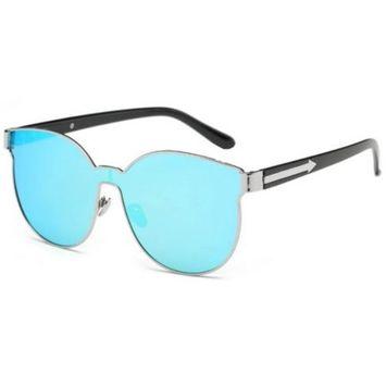 OWL Eyewear Sunglasses 86036 C6 Women's Metal Fashion Black/Silver Frame Blue Mirror Lens