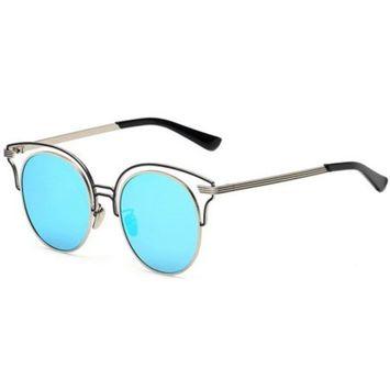 OWL Eyewear Sunglasses 86042 C6 Women's Metal Round Fashion Silver Frame Blue Mirror Lens