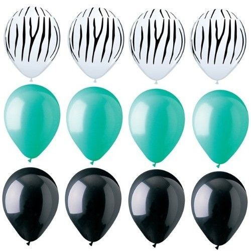 Franz ZEBRA Stripes PRINT Black AQUA Green 12 Piece Latex Helium Party Balloons Set