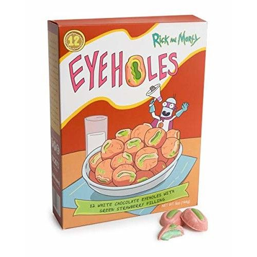 Rick and Morty Eyeholes - White Chocolate Truffles with Green Strawberry Filling, Limited Edition - FYE Exclusive