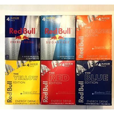Red Bull Energy Drink Variety Pack : Original, SugarFree, Blue, Yellow, Red, Orange, 8.4fl.oz (Pack of 24)