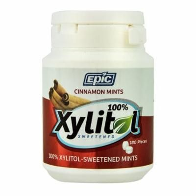 Epic Dental Xylitol Sweetened Mints Cinnamon -- 180 Pieces pack of 2