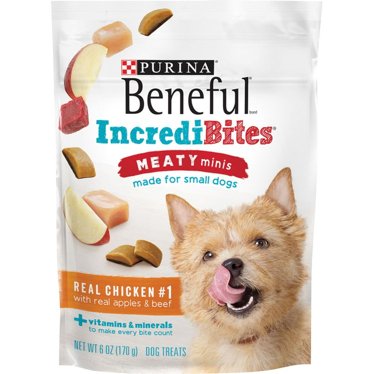 Purina Beneful IncrediBites Meaty Minis Real Chicken With Real Apples & Beef Dog Treats - 6 oz. Pouch