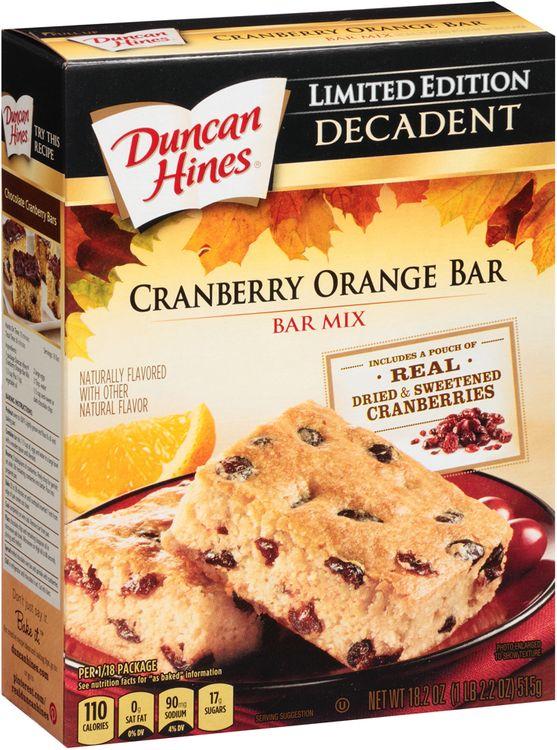 Duncan Hines® Cranberry Orange Bar Mix