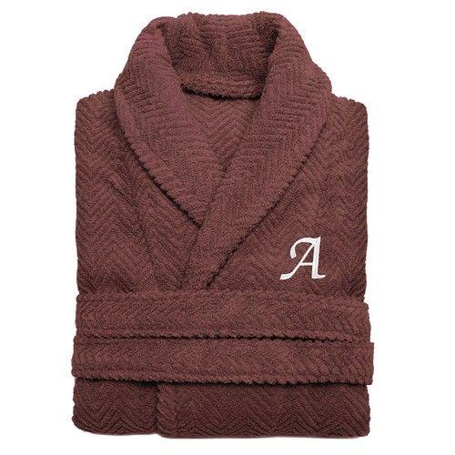 Linum Home Textiles Turkish Cotton Personalized Herringbone Weave Bathrobe