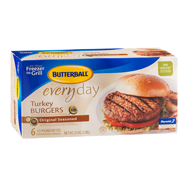 Butterball Everyday Turkey Burgers with Natural Flavorings Original Seasoned - 6 CT