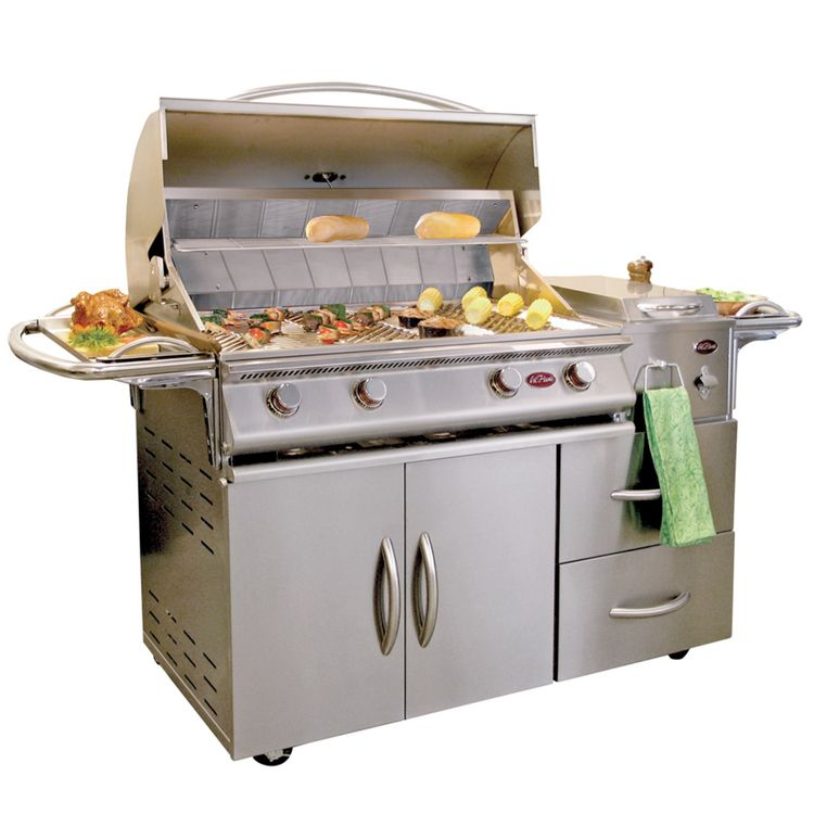 Cal Flame A La Cart Deluxe 4-Burner Stainless Steel Gas Grill Cart with Double Drawers