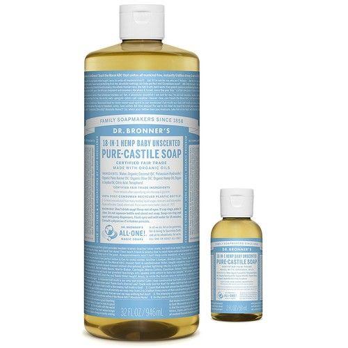 Dr. Bronner's Pure-Castile Liquid Soap – Baby Unscented Bundle. 32 oz. Bottle and 2 oz. Travel Bottle
