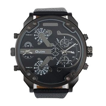 Sports Wrist Watch ,Vinjeely Luxury Military Army Dual Time Quartz Large Dial Oulm (Black)