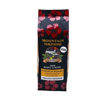 100% Kona Coffee - Private Reserve - Ground - French Roast - 16 Ounce Bag - by Mountain Thunder Coffee Plantation [French Roast - Ground]