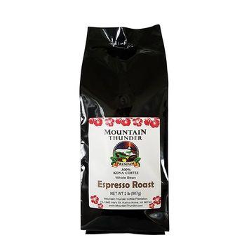 100% Kona Coffee Espresso Roast - 2 Pounds Premium Gourmet Whole Bean by Mountain Thunder Coffee Plantation [Whole Bean]