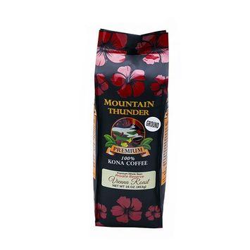 100% Kona Coffee - Private Reserve - Ground - Vienna Roast - 16 Ounce Bag - by Mountain Thunder Coffee Plantation [Vienna Roast - Ground]