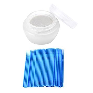 MagiDeal 5g Cream Type Glue Remover Gentle for Eyelash Extension Makeup Tool + 100pcs Disposable Micro Swabs Mascara Wands