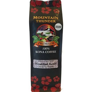 100% Kona Coffee - Premium - Ground - Breakfast Roast - 16 Ounce Bag - by Mountain Thunder Coffee Plantation [Breakfast Roast - Ground]