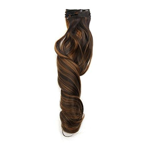 """uxcell 8pcs 22"""" Length Synthetic Clip In Long Water Wavy Hairpiece Hair Extension 2H30#"""