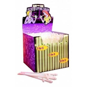 Glow In The Dark Pecker Sipping Straws - Display of 144