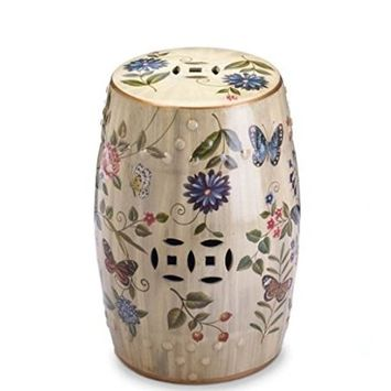 SKB Family Butterfly Garden Ceramic Stool ceramic butterflies flowers vintage backdrop display accent