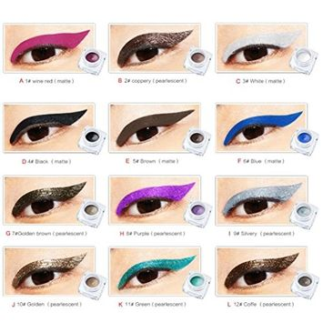 Binmer(TM) Huamianli 12 Colors Choices Eye Liner Waterproof Eyeliner Pearlescent Matte