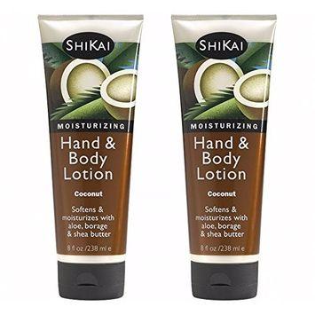 Shikai - Natural Moisturizing Hand & Body Lotion, Softens & Moisturizes Skin with Aloe Vera, Borage Oil & Shea Butter (Coconut, 8 Ounces) | 2-Pack