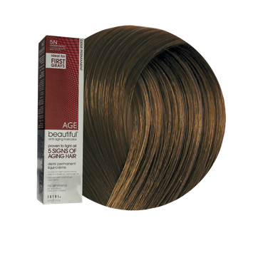 Zotos AGEbeautiful Anti-Aging Demi Permanent Liqui-Creme Haircolor 5N Medium Brown
