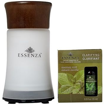 ESSENZA ultrasonic fragrance diffuser | Changing Colored LED Light | 29.57 ml Rosemary Mint Oil