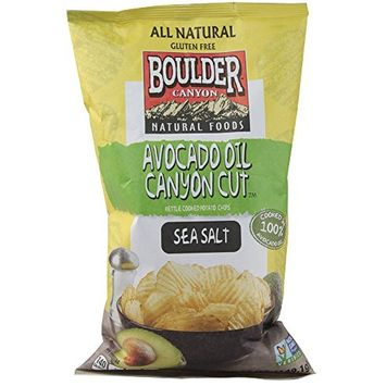 Boulder Canyon Authentic Foods Avocado Oil Canyon Cut Kettle Cooked Potato Chips Sea Salt -- 5.25 oz (Pack of 2)