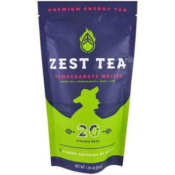 Zest Tea LLZ, Premium Energy Tea, Pomegranate Mojito, 20 Pyramid Bags, 1.76 oz (50 g) [Flavor : Pomegranate Mojito]