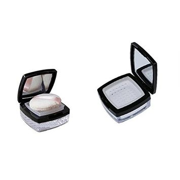 10ML Empty Clear Square Foundation Make-up Powder Puff Box Compact Black Lid Container Case with Soft Sponge Powder Puff Mirror and Mirror Sifter