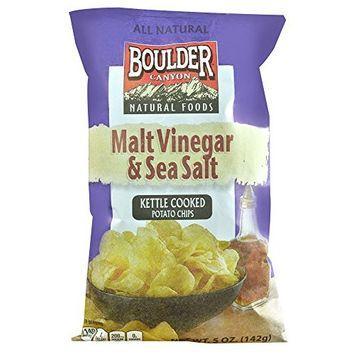 Boulder Canyon All Natural Kettle Cooked Potato Chips Malt Vinegar and Sea Salt -- 5 oz (Pack of 2)