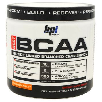 BPI Sports Best BCAA Amino Acids Energy Powder, Passion Fruit - 30 servings