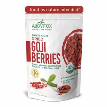 Goji Berries - The Best, Natural Dried Whole Raw Fruit Berry - High in iron, Wolfberry - Paleo, Vegan, Protein Snack and Superfood - Organic 16oz by Alovitox
