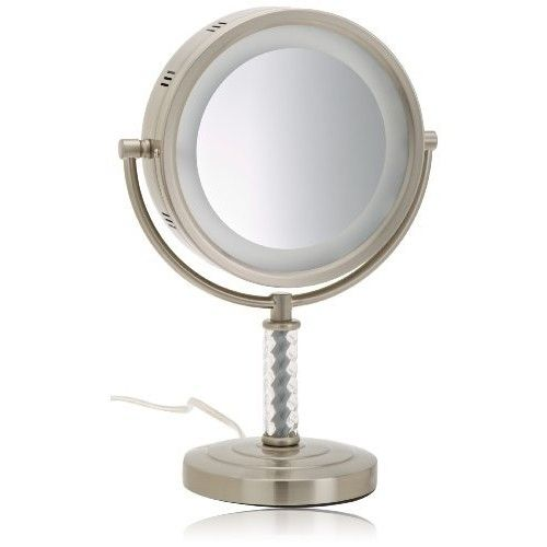 Jerdon HL856MNC 8-Inch Halo Lighted Vanity Mirror with 6x Magnification, Nickel Finish