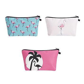 Zohra Women's flamingo 3D Printing Cosmetic Bag Travel Makeup Case Pencil Holder 3Pcs/Set
