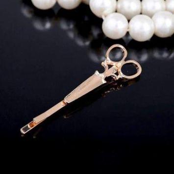 Vintage Victorian Scissors Hair Clip Barrette Gold
