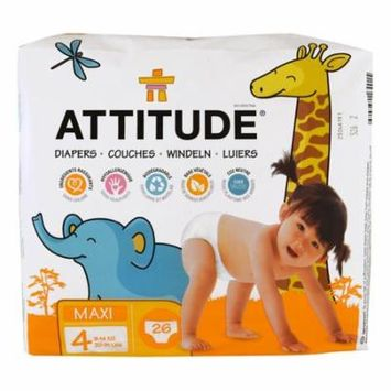 ATTITUDE, Diapers, Maxi, Size 4, 20-31 lbs (9-14 kg), 26 Diapers(pack of 4)