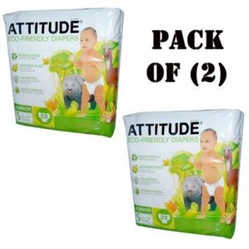 Pack of (2) Attitude Baby Diapers Disposable Eco-Friendly, Size 5 27+lbs 44 Pics