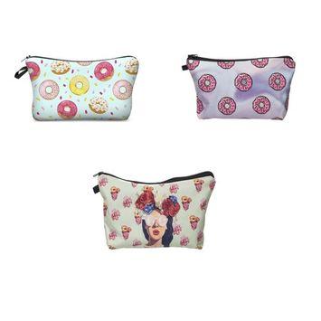 Zohra Women's Cute 3D Printing Cosmetic Bag Travel Makeup Case Pencil Holder 3Pcs/Set