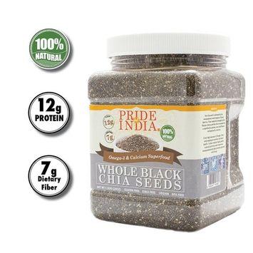 Pride Of India - Whole Black Chia Seeds - Omega-3 & Calcium Superfood, 1.5 Pound Jar [Black Chia Seed Omega-3 & Calcium Superfood]
