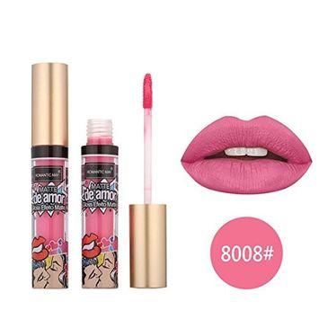 Alonea Liquid Lip Gloss, Cosmetic Romantic Lipstick Waterproof Long Lasting Matte Liquid Lip Gloss