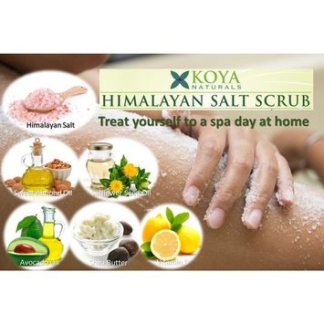 KOYA Naturals Himalayan Salt Body Scrub with Sweet Almond Oil and Shea Butter - 12 oz - All Natural Scrub to Exfoliate and Moisturize Skin - Sweet Cherry Blossom Fragrance - Made in the USA