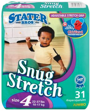 Stater bros Snug Stretch Adjustable Stretch Grip Jumbo Pack Size 4 2 Diapers 31 Ct Bag