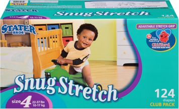 Stater bros Snug Stretch™ Diapers Size 4 2 Club Pack 124 ct Box