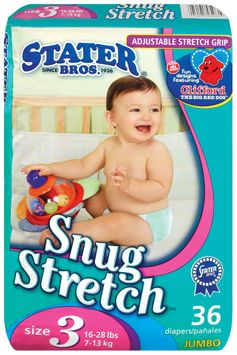 Stater bros Snug Stretch Adjustable Stretch Grip Jumbo Pack Size 3 1 Diapers 36 Ct Bag
