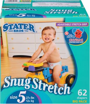 Stater Bros. Snug Stretch™ Diapers Size 5 27+ lbs. Big Pack 62 ct. Box