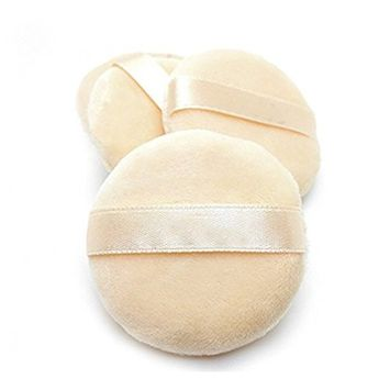6 PCS 60 X 15mm Velvet Round Shaped Loose Powder Puff with Satin Ribbon Band Soft Makeup Cosmetic Sponge