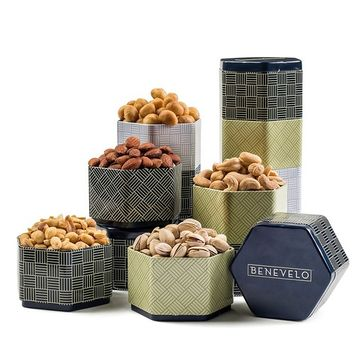 Gourmet Salted Nuts Assortment in 5 Tier Tin Tower with Macadamias, Cashews, Pistachios, Almonds & Peanuts