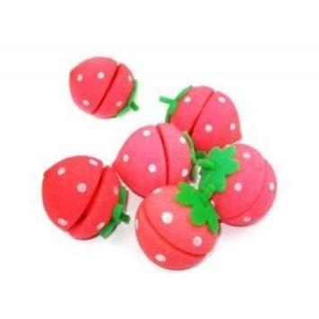Strawberry Sponge Hair Curlers (6 Sponges)
