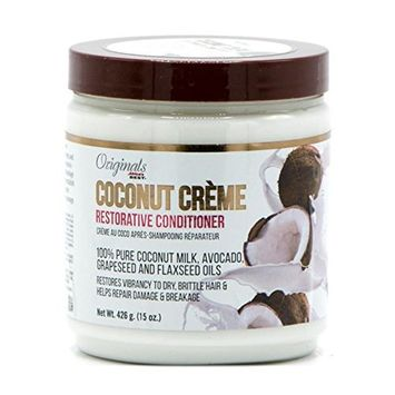 Africa's Best Originals Coconut Creme Restorative Conditioner 100% Pure Coconut Milk, Avocado, Grapeseed and Flaxseed Oils (15oz)