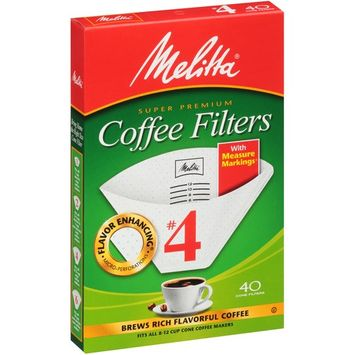 Melitta #4 White Cone Coffee Filters, 40 Ct (Pack of 6)